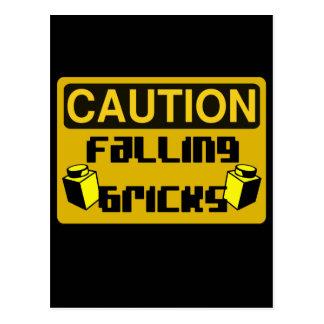 CAUTION FALLING BRICKS by Customize My Minifig Postcard