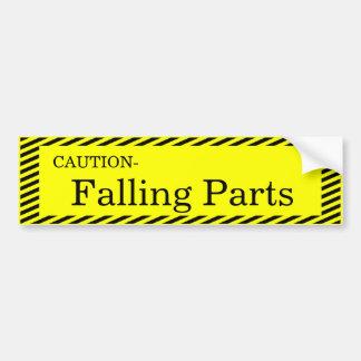 Caution-Falling Parts Bumper Sticker