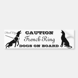 CAUTION French Ring DOGS ON BOARD Car Bumper Sticker