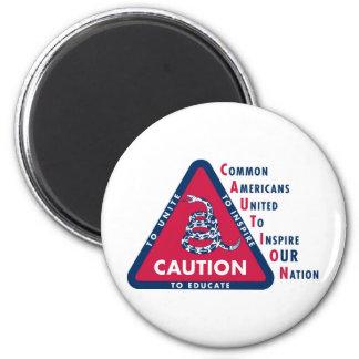 CAUTION Gear 6 Cm Round Magnet