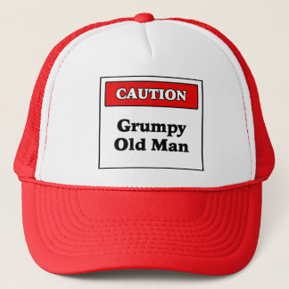 Caution Grumpy Old Man Trucker Hat