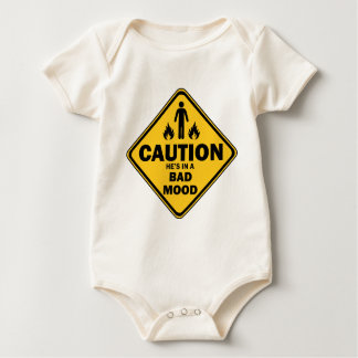 caution he is in a bad mood baby bodysuit