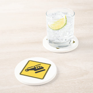 Caution Helicopter Sign Coaster