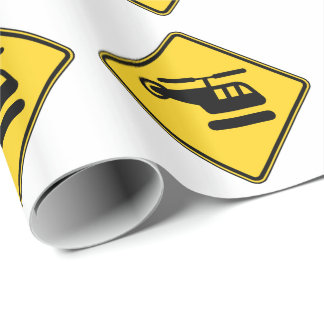 Caution Helicopter Sign Wrapping Paper