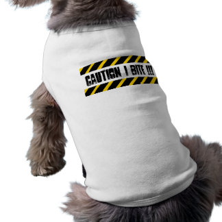 Caution I Bite! Sleeveless Dog Shirt