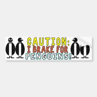 CAUTION! IBRAKE FOR PENGUINS! BUMBER STICKER BUMPER STICKER