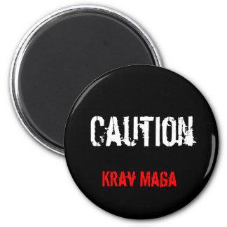 caution krav maga badge 6 cm round magnet