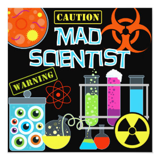caution mad scientist birthday party invitation - Science Party Invitations