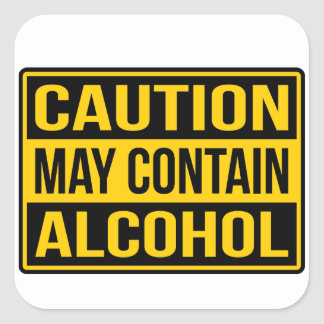 Caution May Contain Alcohol Sign Sticker
