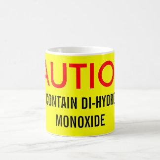CAUTION:, MAY CONTAIN DI-HYDROGEN MONOXIDE CLASSIC WHITE COFFEE MUG