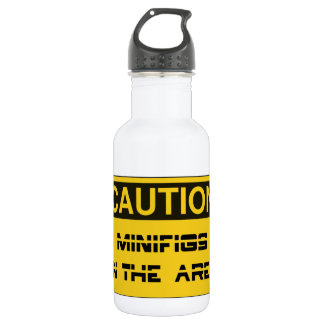 CAUTION MINIFIGS IN THE AREA by Chillee Wilson 532 Ml Water Bottle