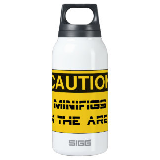 CAUTION MINIFIGS IN THE AREA by Chillee Wilson Insulated Water Bottle