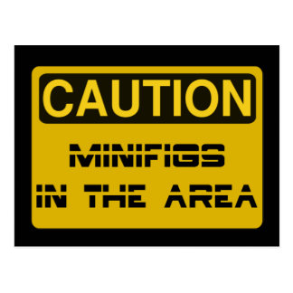 CAUTION MINIFIGS IN THE AREA by Chillee Wilson Postcard