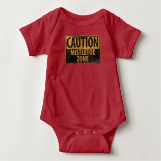 Caution Mistletoe Zone Christmas Baby Kissing Sign Baby Bodysuit