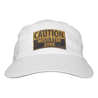 Caution Mistletoe Zone Christmas Danger Kiss Sign Hat