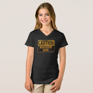 Caution Mistletoe Zone Christmas Kiss Danger Sign T-Shirt