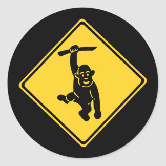 Caution Monkeys, Traffic Sign, Taiwan Classic Round Sticker