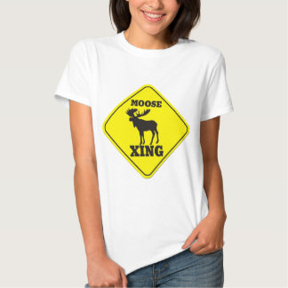 Caution- Moose Crossing T Shirt