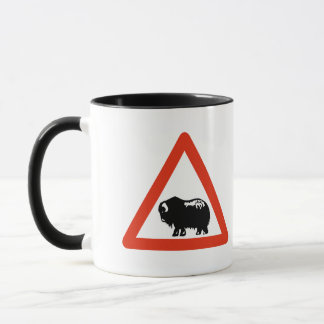 Caution Musk Oxen, Traffic Sign, Greenland Mug