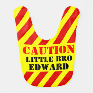 Caution named sign / warning brother baby bib