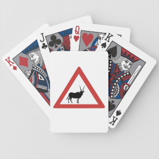 Caution Oryx, Traffic Warning Sign, Namibia Bicycle Playing Cards