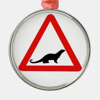 Caution Otters (1), Traffic Sign, UK Metal Ornament