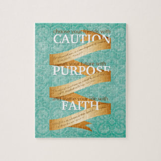 Caution, Purpose, Faith in Blue Jigsaw Puzzle