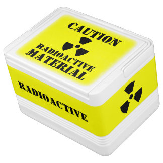 Caution RADIOACTIVE MATERIAL Label Halloween Props Igloo Can Cooler