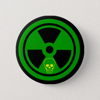 Caution Radioactive Sign With Skull 6 Cm Round Badge