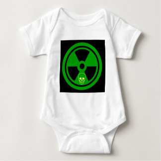 Caution Radioactive Sign With Skull Baby Bodysuit