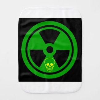 Caution Radioactive Sign With Skull Burp Cloth