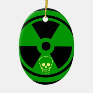 Caution Radioactive Sign With Skull Ceramic Ornament