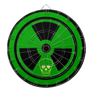 Caution Radioactive Sign With Skull Dartboard