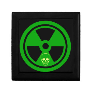 Caution Radioactive Sign With Skull Gift Box