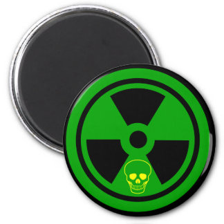 Caution Radioactive Sign With Skull Magnet