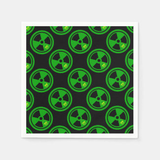 Caution Radioactive Sign With Skull Paper Napkin