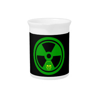Caution Radioactive Sign With Skull Pitcher