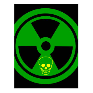 Caution Radioactive Sign With Skull Postcard