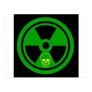 Caution Radioactive Sign With Skull Postcard