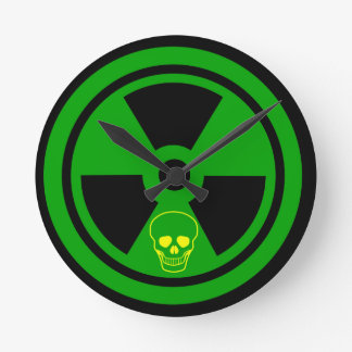 Caution Radioactive Sign With Skull Round Clock