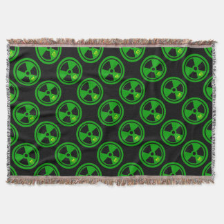 Caution Radioactive Sign With Skull Throw Blanket