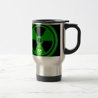 Caution Radioactive Sign With Skull Travel Mug