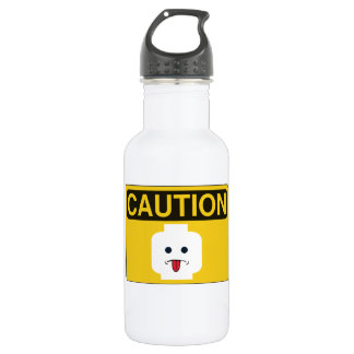 CAUTION: RUDE MINIFIG HEAD by Customise My Minifig 532 Ml Water Bottle