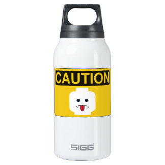 CAUTION: RUDE MINIFIG HEAD by Customise My Minifig Insulated Water Bottle