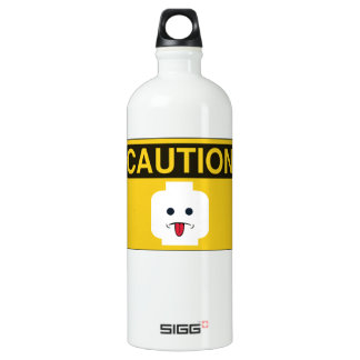 CAUTION: RUDE MINIFIG HEAD by Customise My Minifig Water Bottle