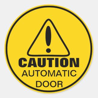 Caution Sign Automatic Door Round Sticker