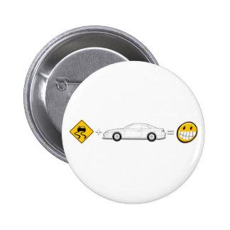 Caution Sign, Drift Silvia S14 is fun 6 Cm Round Badge