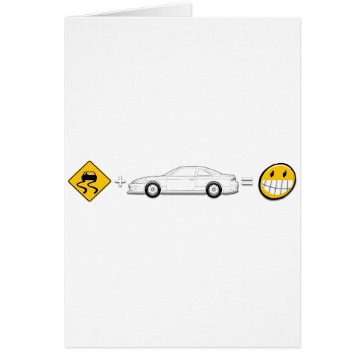 Caution Sign, Drift Silvia S14 is fun Greeting Cards