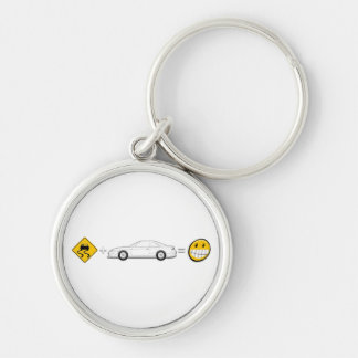 Caution Sign, Drift Silvia S14 is fun Silver-Colored Round Key Ring