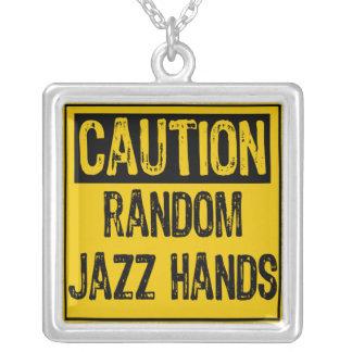 Caution Sign-Random Jazz Hands Yellow Black Pendant